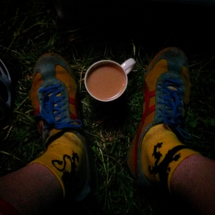 Sock change and cup of tea before the proper night laps.